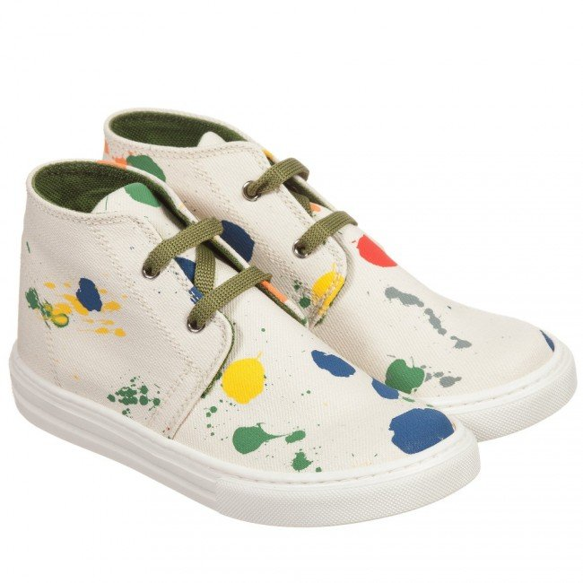 STELLA MCCARTNEY KIDS Ivory Canvas Paint Splattered 'Alonzo' Trainers