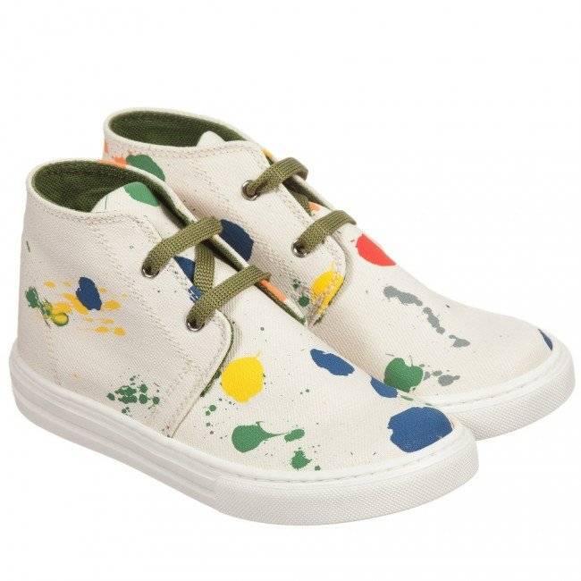 STELLA MCCARTNEY KIDS Ivory Canvas Paint Splattered Alonzo Trainers
