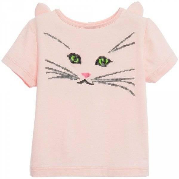 CHARABIA Girls Pink 'Cat Face' T-Shirt