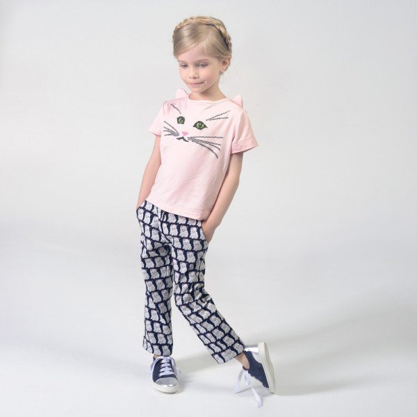 CHARABIA Girls Pink 'Cat Face' T-Shirt & Cat Print Pants
