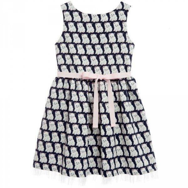 CHARABIA Navy Blue & White 'Cats' Jacquard Dress