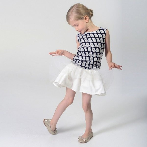 CHARABIA Navy Blue & White 'Cats' Jacquard Dress with Tulle