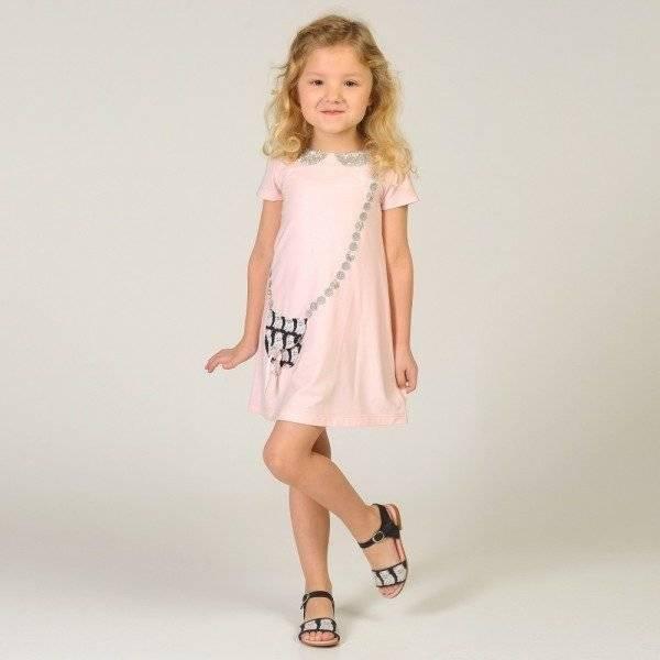 CHARABIA Pink Jersey 'Bag' Print Dress