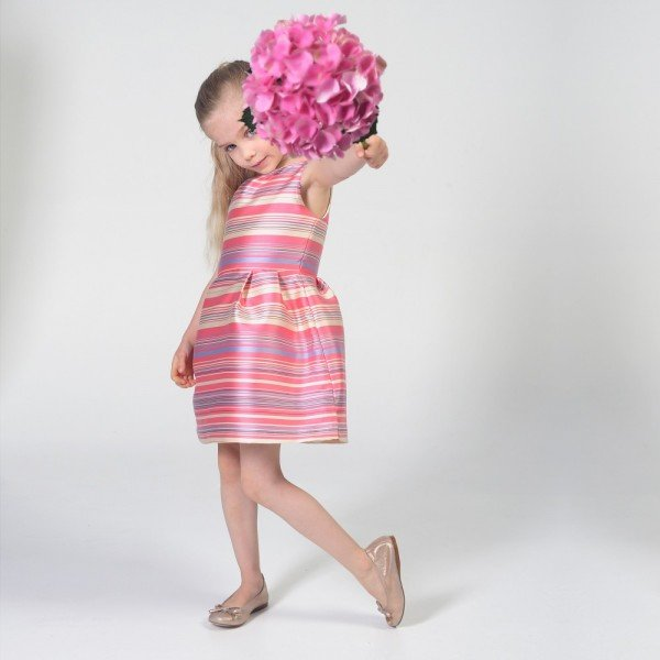 Charabia Pink Striped Satin Dress