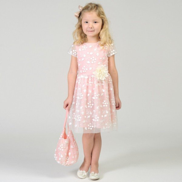 CHARABIA Pink & White Embroidered Tulle Dress