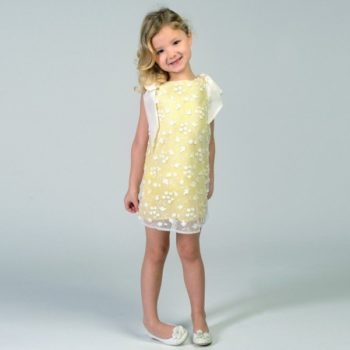 CHARABIA Yellow & White Embroidered Tulle Dress