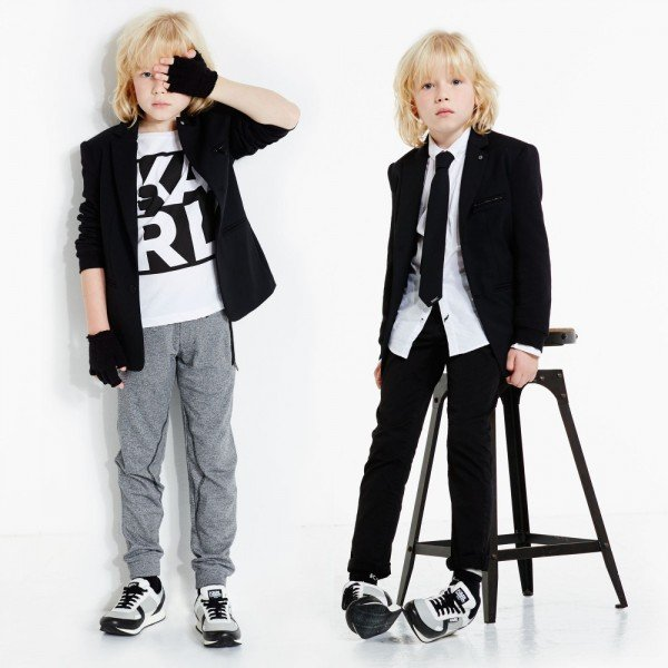Karl Lagerfeld Kids Boys Rock Chic Blazer and Tie
