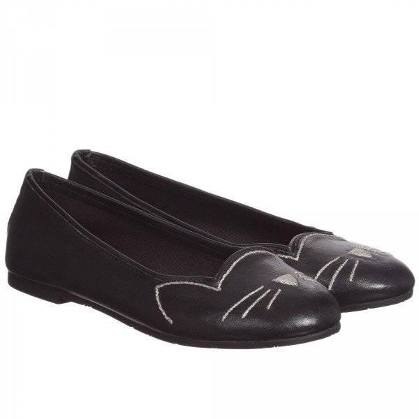 Karl Lagerfeld Kids Girls Black Leather Choupette Ballerina Shoes