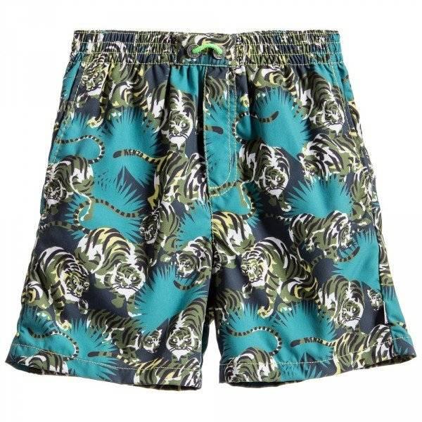 Boys Green 'Jungle Kids' Swim Shorts with Tigers, Kenzo, Boy