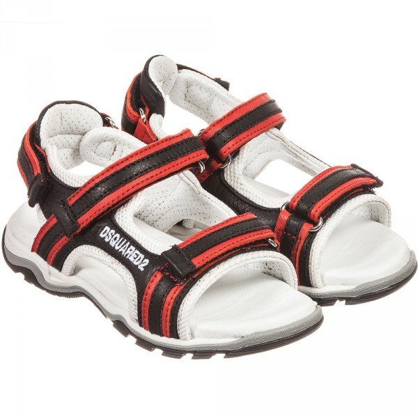 DSQUARED2 Boys Black & Red Velcro Leather Sandals