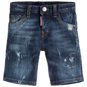 DSQUARED2 Boys Blue Denim Distressed Shorts