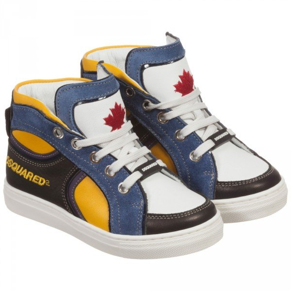 DSQUARED2 Boys White, Black & Yellow High-Top Trainers
