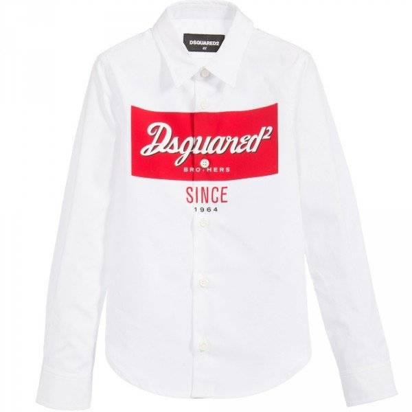 DSQUARED2 Boys White Cotton Logo Shirt