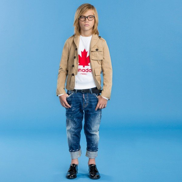 DSQUARED2 Boys White Maple Leaf Print Sweatshirt & Blue Distressed 'Big Dean's Brother' Jeans