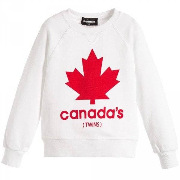 DSQUARED2 Boys White Maple Leaf Print Sweatshirt