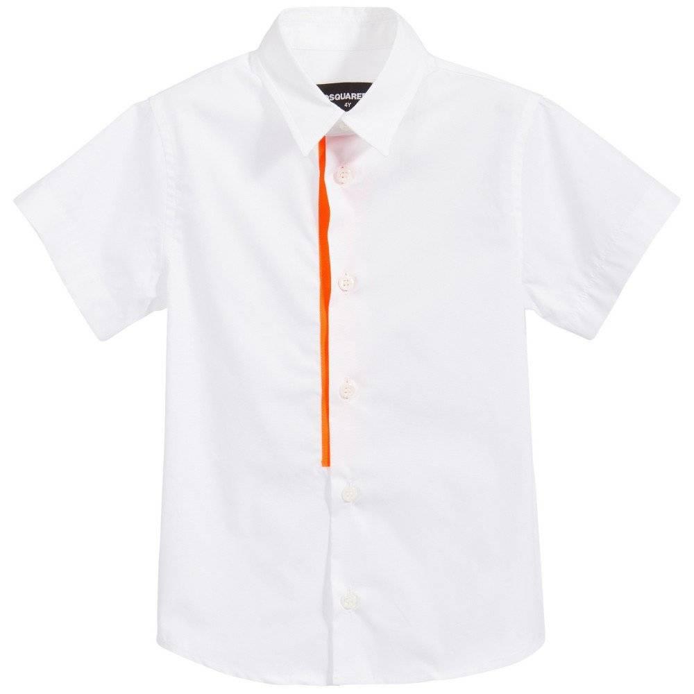 DSQUARED2 Boys White Shirt with Neon Orange Trim