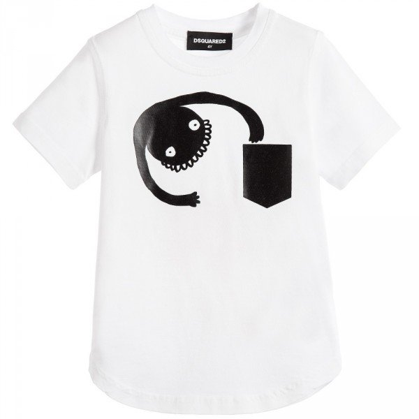 DSQUARED2 White & Black Cotton Jersey Monster Top