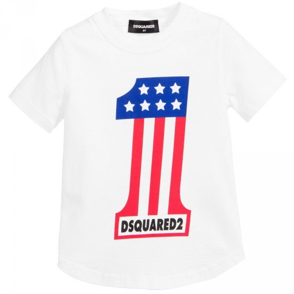 DSQUARED2 White Cotton Jersey 'No.1' T-Shirt