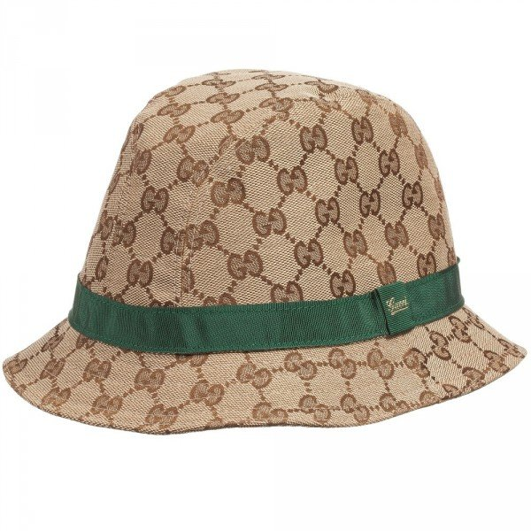 GUCCI Beige Canvas 'GG' Fedora & Green Ribbon Hat