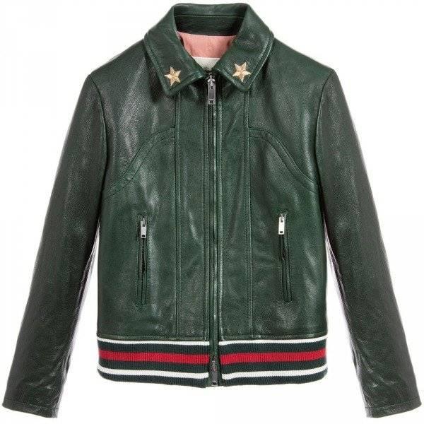 GUCCI Kids Bottle Green Leather Jacket
