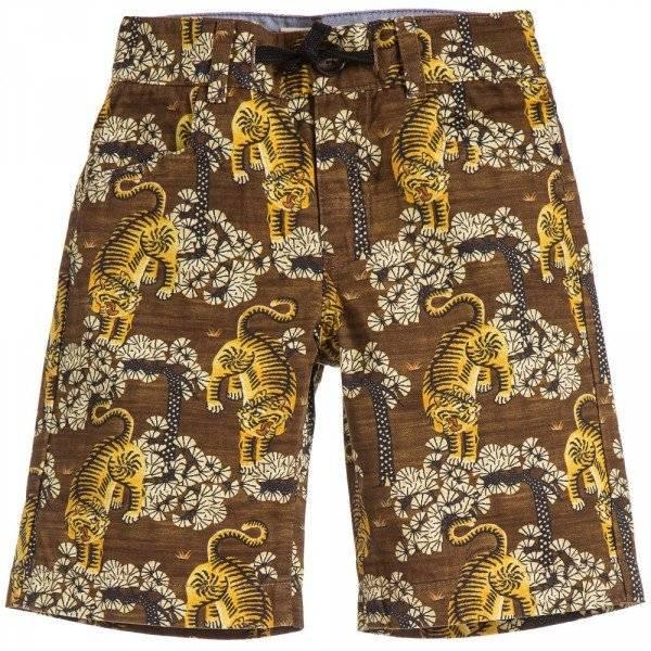 GUCCI Boys Brown Tiger Print Cotton Shorts