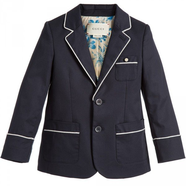 GUCCI Boys Navy Blue Blazer with Grey Piping