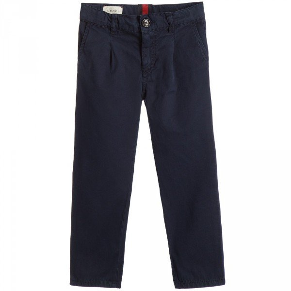 GUCCI Boys Navy Blue Chino Trousers