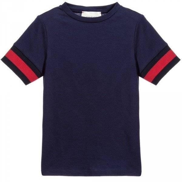 GUCCI Boys Navy Blue T-Shirt with Logo Webbing