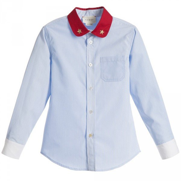 GUCCI Boys Pale Blue Shirt with Red Collar