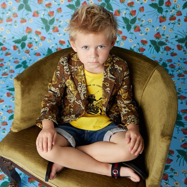 GUCCI Boys Yellow 'Bee' Print T-Shirt & Tiger Jacket