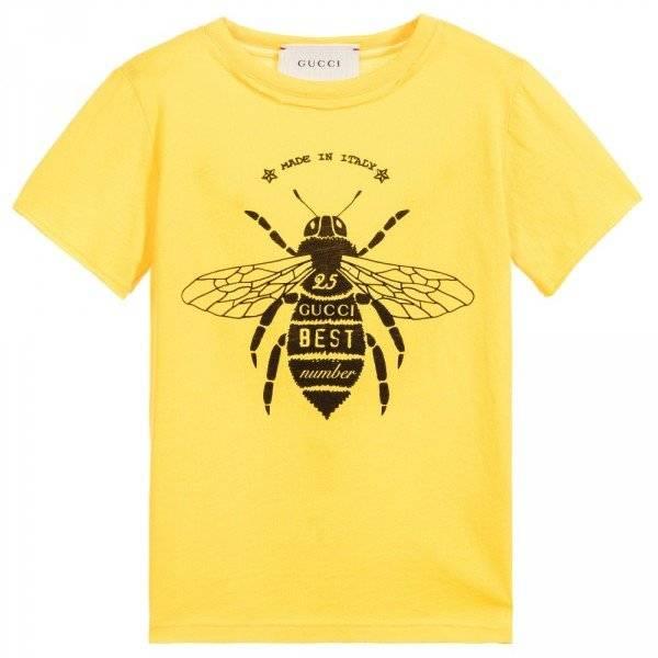 GUCCI Boys Yellow 'Bee' Print T-Shirt