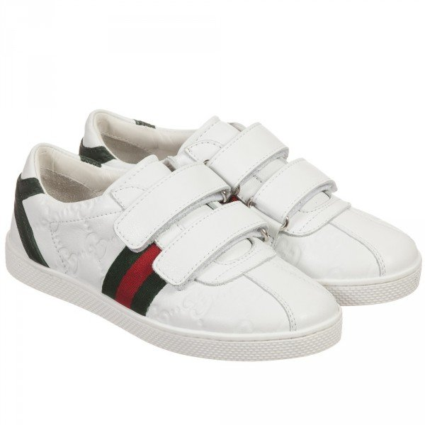 GUCCI White Leather Velcro Trainers