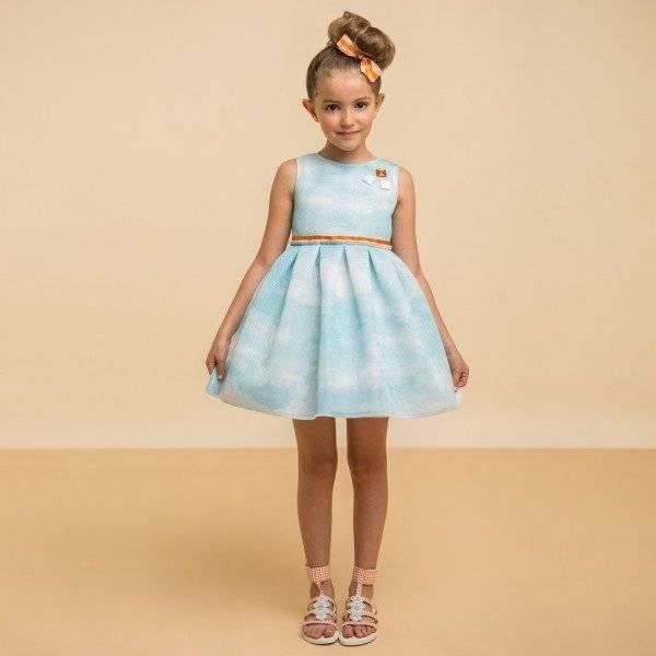 I PINCO PALLINO Sky Blue Dress with Jewels & Orange Trim