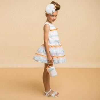 I PINCO PALLINO White Dress with Gingham Stripes & Tulle