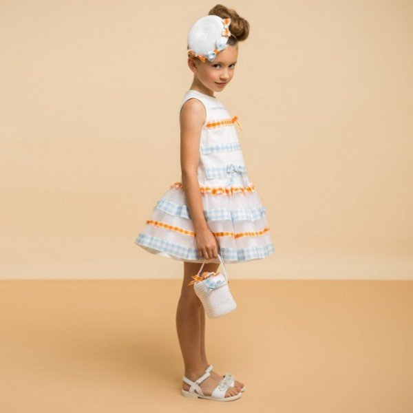 I PINCO PALLINO White Dress with Gingham Stripes & Tulle