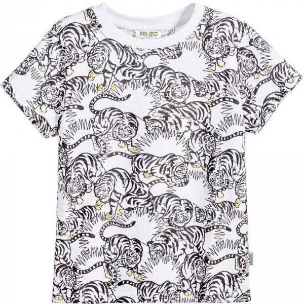 KENZO Boys Black & White 'Jungle Kids' Tiger T-Shirt p