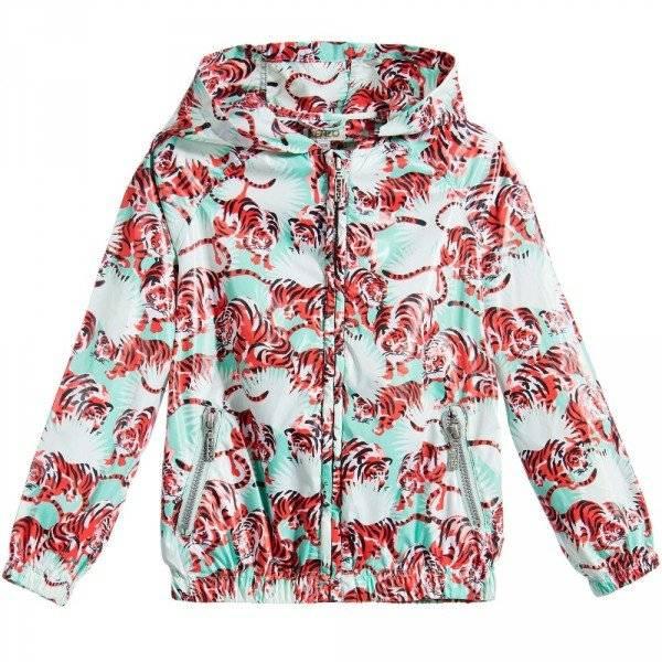 KENZO Girls Orange Tiger 'Jungle' Foldaway Jacket