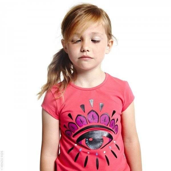 KENZO Girls Pink Cotton 'Tiger' Eye T-Shirt
