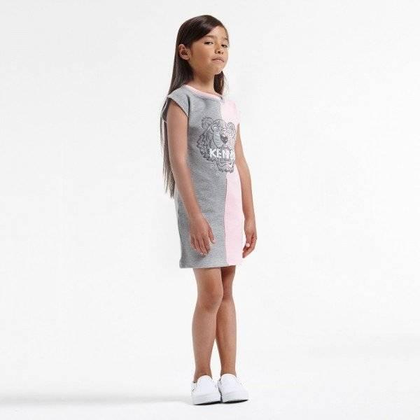 KENZO Pale Pink Grey Cotton Tiger Dress
