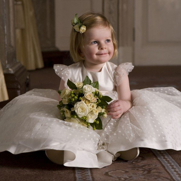 NICKI MACFARLANE Ivory Silk & Tulle Long 'Maisy' Dress