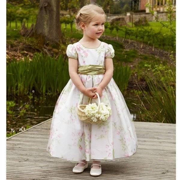 NICKI MACFARLANE Long Floral 'Lana' Dress with Green Silk Sash