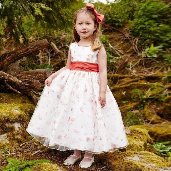NICKI MACFARLANE Long Pink 'Rosebud' Dress with Red Silk Sash