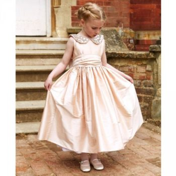 NICKI MACFARLANE Pale Pink Silk Taffeta Ballerina 'Serena' Dress