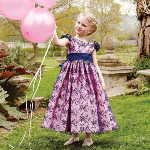 NICKI MACFARLANE Pink & Navy Blue Lace Long 'Beatrice' Dress back