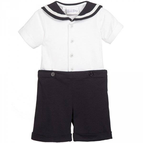 RACHEL RILEY Baby Boys Navy Blue & White Sailor Buster Suit
