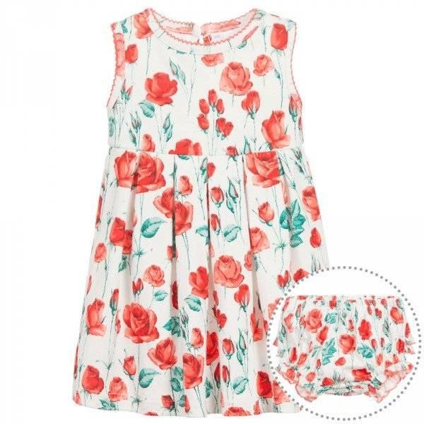 RACHEL RILEY Baby Girls Red Rose Cotton Jersey Dress