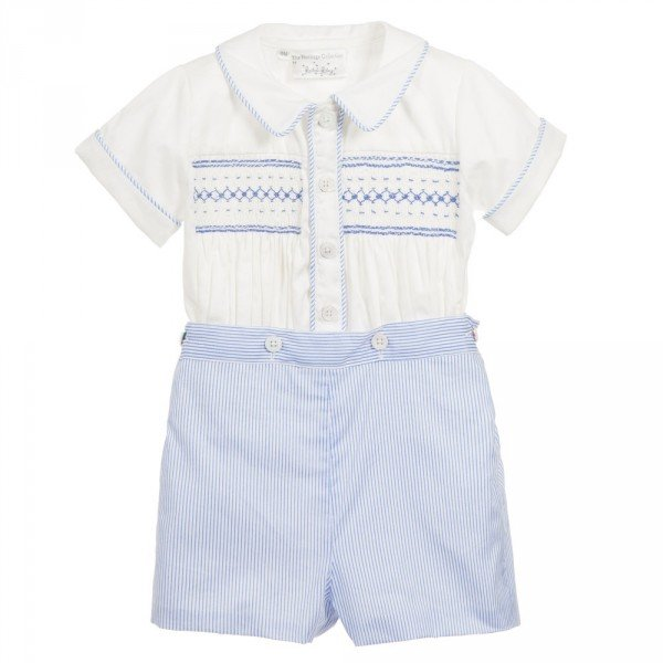 RACHEL RILEY Baby Boy Blue Hand Smocked Traditional Heritage Buster Suit