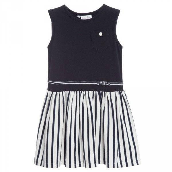 RACHEL RILEY Navy Blue & Ivory Striped Dress