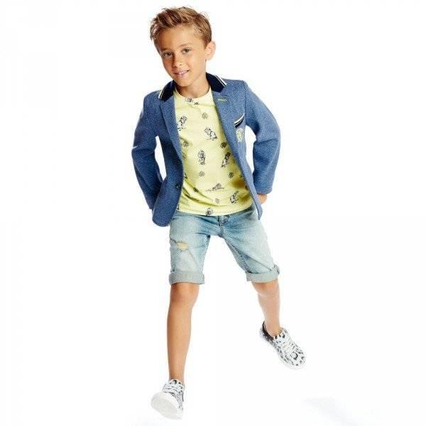 ROBERTO CAVALLI Boys Blue Cotton Jersey Blazer Look