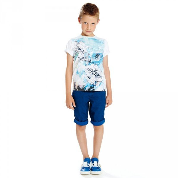 ROBERTO CAVALLI Boys White & Blue Koi Fish T-Shirt